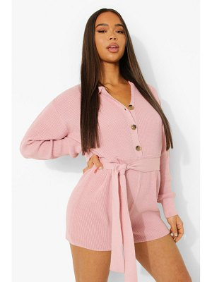 Boohoo Button Through Belted Knitted Romper