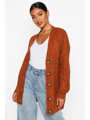 Boohoo Button Through Cable Knit Cardigan