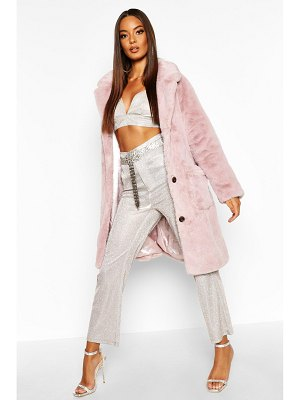 Boohoo Button Through Double Pocket Faux Fur Coat