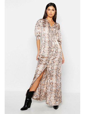 Boohoo Button Through Snake Print Maxi Dress