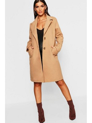 Boohoo Button Through Wool Look Coat