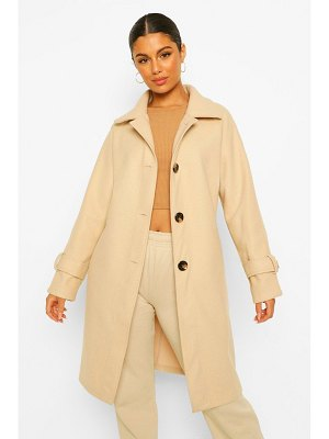 Boohoo Button Through Wool Look Pea Coat