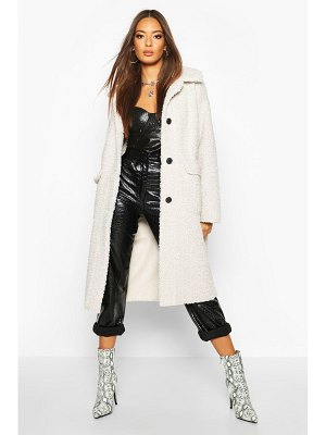 Boohoo Button Up Faux Fur Bonded Teddy Coat