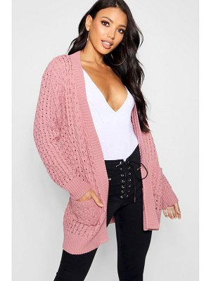 Boohoo Cable Cardigan With Pockets