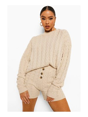Boohoo Cable Knit Button Short Set