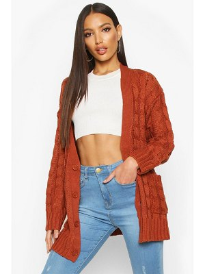 Boohoo Cable Knit Button Through Cardigan