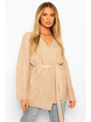 Boohoo Cable Knit Wrap Cardigan