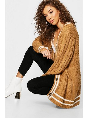 Boohoo Cable Stripe Midi Cardigan