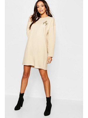 Boohoo Cactus Embroidery Acid Wash Sweat Dress
