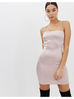 Boohoo cami bodycon dress with lace up back detail in blush