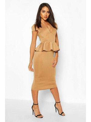 Boohoo Cap Sleeve Peplum Midi Dress