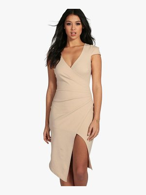 Boohoo Cap Sleeve Wrap Midi Dress