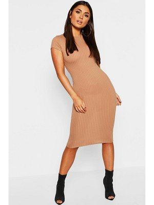 Boohoo Cap Sleeved Ribbed Bodycon Dress
