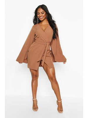 Boohoo Cape Detail Belted Tailored Dress