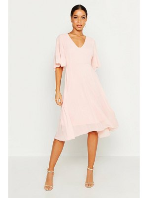 Boohoo Cape Detail Chiffon Midi Dress