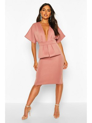 Boohoo Cape Plunge Midi Dress