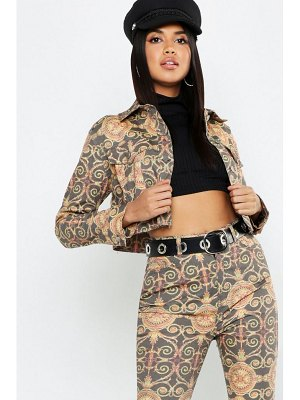 Boohoo Chain Print Cropped Denim Trucker Jacket