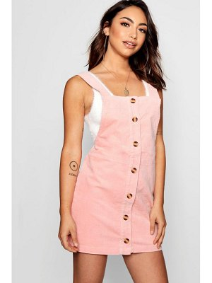 Boohoo Charlie Horn Button Cord Pinafore Dress