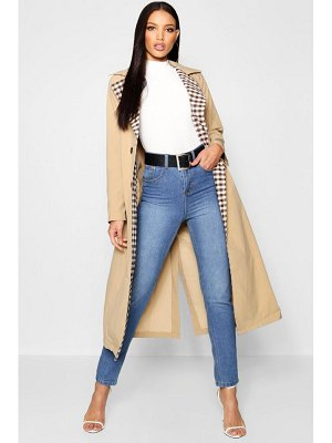 Boohoo flannel Lined Trench Coat