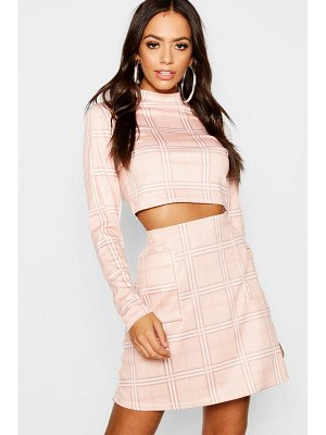 Boohoo Check Pocket Detail And High Neck Top Co-Ord