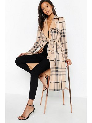 Boohoo Check Suedette Trench Coat