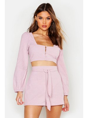 Boohoo flannel Tie Front Blouson Sleeve Crop Top