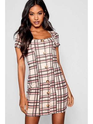 Boohoo Checked Square Neck Horn Button Mini Dress