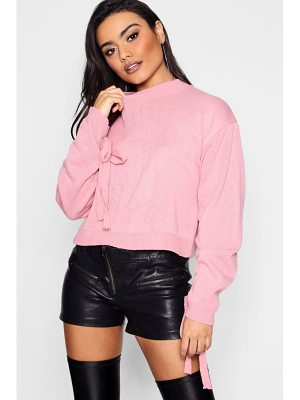 Boohoo Ruched Sleeve Crop Jumper