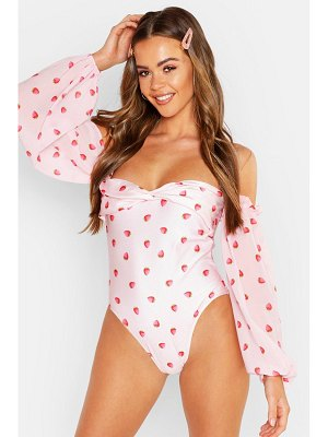 Boohoo Chiffon Balloon Sleeve Swimsuit