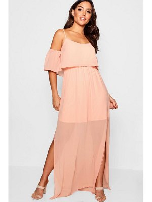Boohoo Chiffon Cold Shoulder Maxi Dress