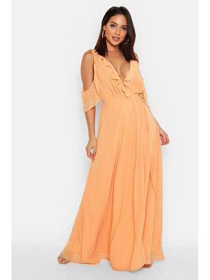 Boohoo Chiffon Frill Cold Shoulder Wrap Maxi Dress