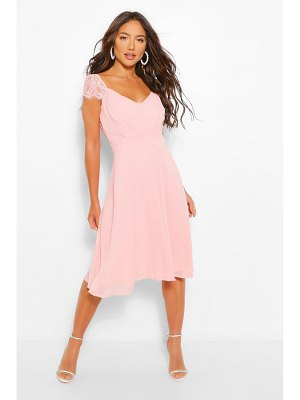 Boohoo Chiffon Lace Midi Skater Bridesmaid Dress