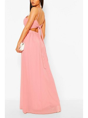 Boohoo Chiffon Tie Back Maxi Dress