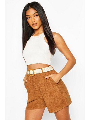 Boohoo Chunky Cord Shorts With Plaited Belt