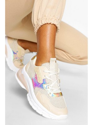 Boohoo Chunky Metallic Panel Sneakers