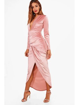 BOOHOO Claire Velvet Ruched Detail Maxi Dress