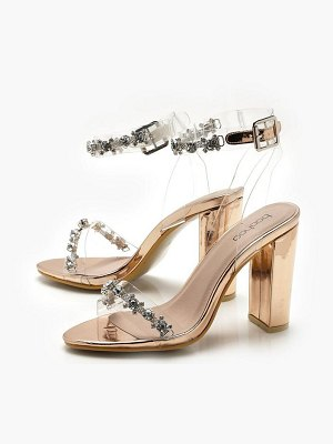 Boohoo Clear and Embellished Strap Block Heels
