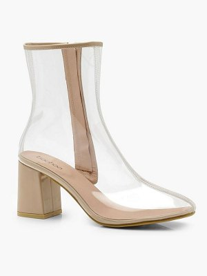 Boohoo Clear Block Heel Shoe Boots