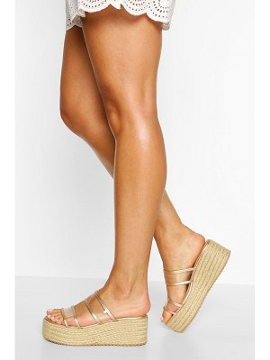 Boohoo Clear Double Strap Espadrille Flatforms