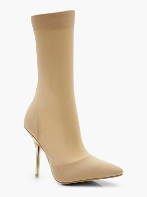 Boohoo Clear Heel Pointed Toe Sock Boots