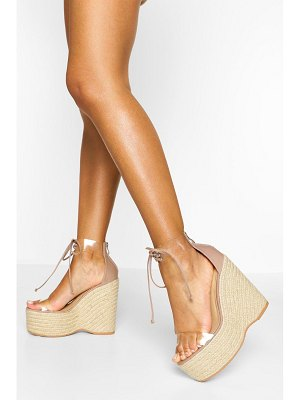 Boohoo Clear Lace Up Espadrille Wedges