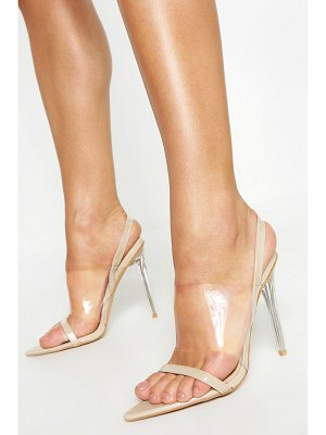 Boohoo Clear Panel Pointed Sling Back Heels