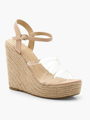 Boohoo Clear Strap Espadrille Wedges