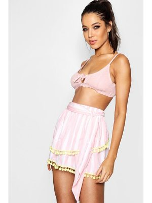 Boohoo Violet Candy Stripe Pom Pom Beach Skirt
