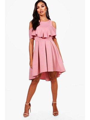 Boohoo Cold Shoulder Full Skater Dress
