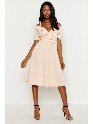 Boohoo Cold Shoulder Ruffle Belted Midi Dress