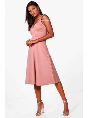 Boohoo Cold Shoulder Strap Detail Midi Skater Dress