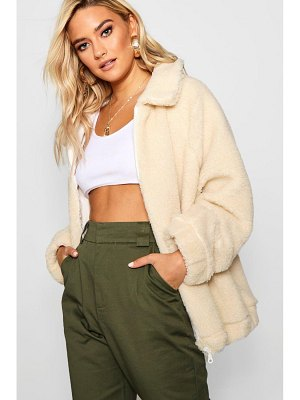Boohoo Collared Teddy Faux Fur Coat