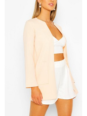 Boohoo Collarless Pocket Detail Duster Jacket