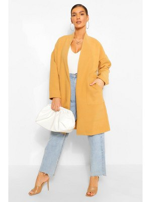 Boohoo Collarless Pocket Detail Wool Look Coat
